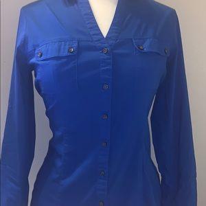 Navy blue long sleeve button up Express top.